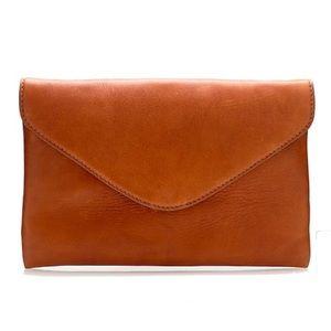 J Crew Invitation Clutch Cognac Real Leather